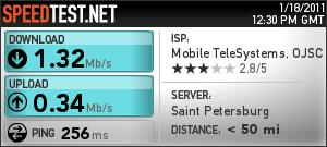 Замеры скорости работы модема МТС 3G